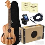 Oscar Schmidt OU8TLCE Spalted Maple Tenor Acoustic/Electric Ukulele Amplifier Package Complete Bundle