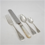Antique, Engraved No. 8 by Gorham, Sterling Pearl Handle Flatware Set, 51 Piece Set, Monogram A