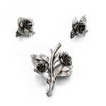 Pin & Earring Set by Danecraft, Sterling Roses, Leaves and Stem