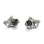 Earrings by Danecraft, Sterling, Rose & Leaves