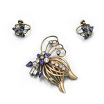 Pin & Earring Set by M & S, Gold Electroplate, Butterfly, Blue &  Clear Stones