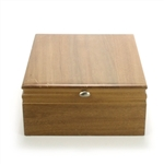 Silverware Box by Wallace, Wood, Turqoise Interior