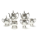 6-PC Tea & Coffee Set w/ Spooner by Reed & Barton, Silverplate, Roman Infleunce