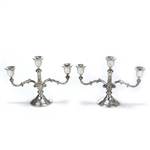 Candelabrum Pair, 3-Branch, Silverplate, Floral Design