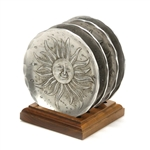 Coaster by Wendell Auguste, Aluminum, Set of 4, Moon & Sun