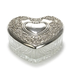 Heart Shaped Box by International, Silverplate/Glass, Floral Design