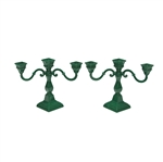 Candelabrum Pair, 3-Branch, Metal, Green, Cast