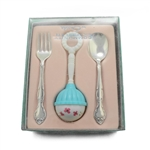 Affection by Community, Silverplate Baby Spoon & Fork, Girl Rattle