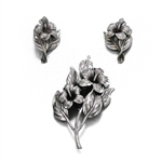 Pin & Earring Set by Danecraft, Sterling Hibiscus