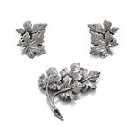 Pin & Earring Set by Danecraft, Sterling Maple Leaves
