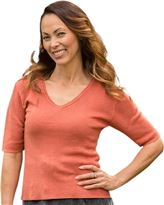 Hand Loomed Hemp V Neck