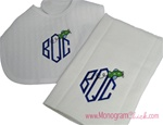 Airplane Monogram Bib and Burp Set