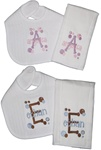 Cade Dot Bib and Burp Set with Name