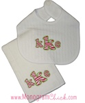 Zebra Monogram Bib and Burp Set