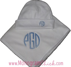 Blanket and Hat with Monogram
