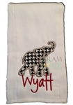 Alabama Houndstooth Applique Burp Cloth