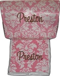 Pink Damask Burp and Roadie Set