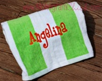 Green and White Stripe Towel