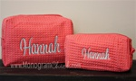 Coral Waffle Weave Cosmetic Bag Set