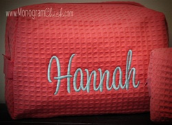 Large Coral Waffle Weave Cosmetic Bag