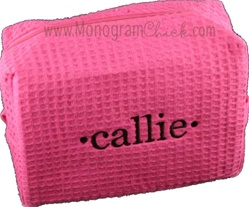 Large Pink Waffle Weave Cosmetic Bag