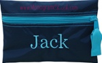 Navy and Aqua Pencil Pouch