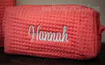 Small Coral Waffle Weave Cosmetic Bag