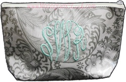 Silver Floral Cosmetic Bag