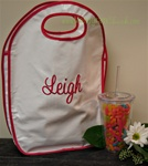 White and Hot Pink Oilcloth Keyhole Tote