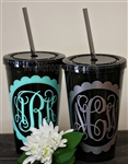 Personalized Tumbler with Straw :: Black