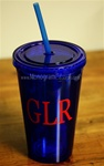 Personalized Tumbler with Straw :: Blue
