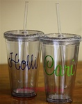 Personlized Tumbler with Straw :: Clear