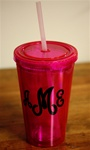 Personalized Tumbler with Straw :: Pink