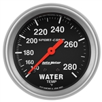 "Auto Meter 3431 2-5/8"" Water Temp, 140- 280`F, 6' Tubing, Mech"
