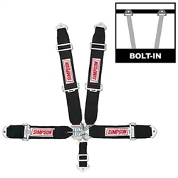 Simpson 29063BK : Seat Belt Harness, Latch & Link, 5-Point, Pull Down, Black, SFI 16.1