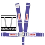 Simpson 29064BL : Seat Belt Harness, Latch & Link, 5-Point, Pull Down, Blue, SFI 16.1