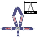 Simpson 29065BL : Seat Belt Harness, Latch & Link, 5-Point, Pull Down, Blue, SFI 16.1