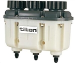 Tilton 72-577 : Master Cylinder Reservoir, Plastic, 2-Brake, 1-Clutch, Male -4AN Fittings