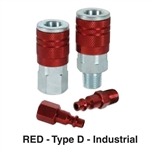 "Wurth 1699164014 : Air Coupler, 1/4"" Body, 1/4"" MNPT Sleeve Coupler, Type D Industrial, Red"