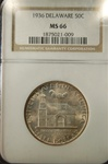 NGC Certified 1936 Half Dollar Delaware Commemorative MS-66