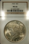 NGC Certified 1923 Peace Dollar MS-66