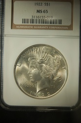 NGC Certified 1922 Peace Dollar MS-65