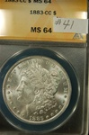 ANACS Certified 1883 CC Morgan Dollar MS-64