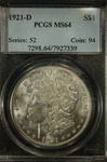 PCGS Certified 1921 D Morgan Dollar MS-64