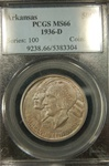 PCGS Certified 1936 D Arkansas Commemorative Half MS-66