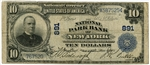 $10 National Park Bank of New York Charter 891 3rd Charter Fine