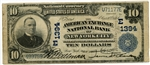 $10 American Exchange National Bank of New York City 3rd Charter #1394 Plain Back VF