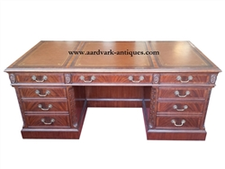 Floor Sample, Leighton Hall Executive Desk, Mahogany, Leather Inlay, Retail $7500