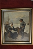 Original Antique Oil Painting by Johann Baptist Zwecker Romance Scene at the Port