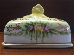 Limoges China Stamp Box With Lid, Yellow Floral